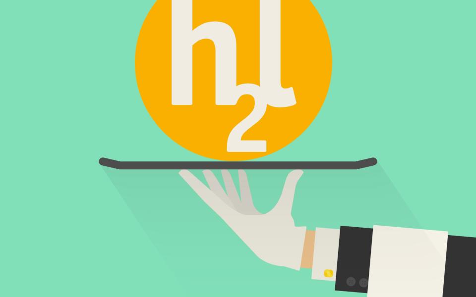 Hand hält Tablett mit Logo von h2l Kommunikation