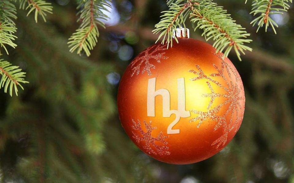 Weihnachtskugel mit h2l-Schriftzug
