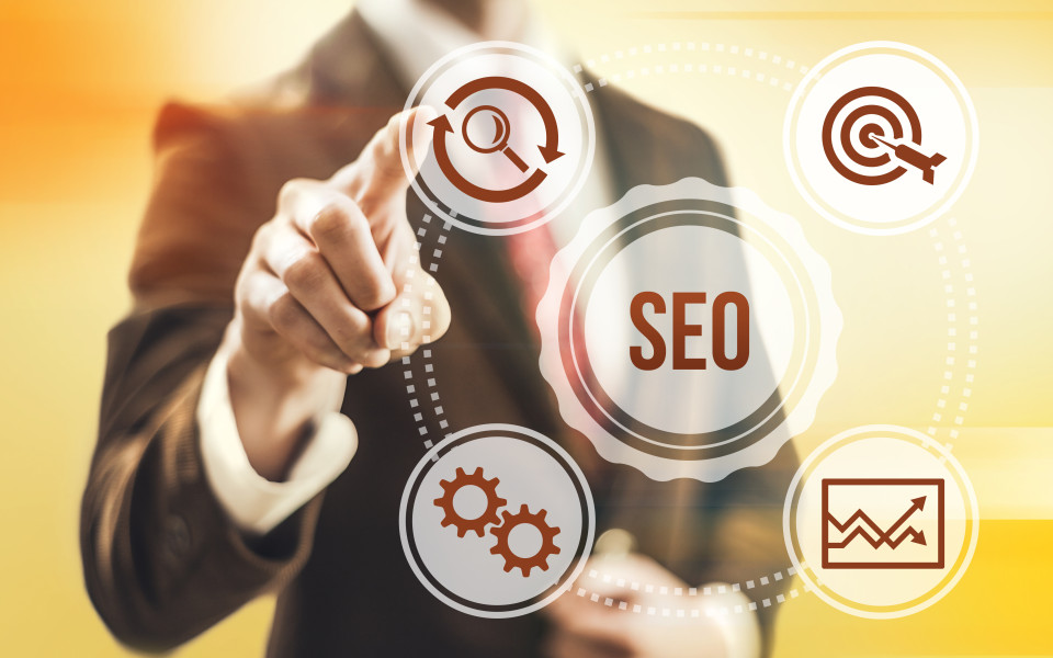 Search engine optimization concept man pointing SEO